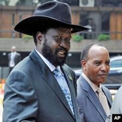 Salva Kiir (L) VP and President of South-Sudan in Nairobi