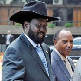 Salva Kiir (L) VP and President of South-Sudan in Nairobi (File)