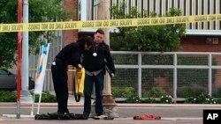 La police dans un quartier de Fresno, Californie, après une fusillade, le 18 avril 2017.