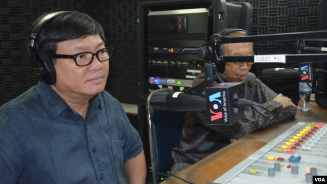 """Sam Rainsy Party lawmaker Son Chhay, left, joined """"Hello VOA"""" on Thursday along with Soubert, who is the current head of the Human Rights Party."""