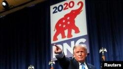 Presiden Donald Trump berbicara dalam hari pertama Konvensi Nasional Partai Republik di Charlotte, North Carolina, 24 August 2020. (Foto: Reuters)
