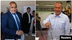 Pemimpin tengah-kanan Partai GERB Boiko Borisov (kiri) dan pemimpin Partai Sosialis Bulgaria Sergei Stanishev saat memasukkan surat suara mereka di sebuah TPS di Sofia. (12/5)