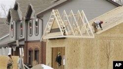 美国俄亥俄州一栋正在建设的房屋
