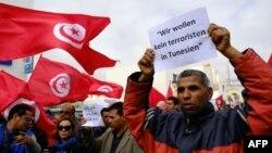 지난 20일 튀니지 미도운에서 최근 박물관 테러를 규탄하는 집회가 벌어졌다.