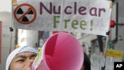 日本反核示威者星期六舉行抗議活動