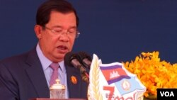 Prime Minister Hun Sen gave remark at the annual ceremony to mark 38 years since the fall of Khmer Rouge in 1979 at its headquarter on January 07, 2017 in Phnom Penh. (Hean Socheata/ VOA Khmer)