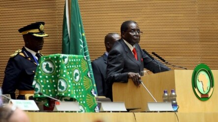 FILE: Zimbabwe's President Robert Mugabe addresses the opening ceremony of the 26th Ordinary Session of the Assembly of the African Union (AU) at the AU headquarters in Ethiopia's capital Addis Ababa, Jan. 30, 2016.