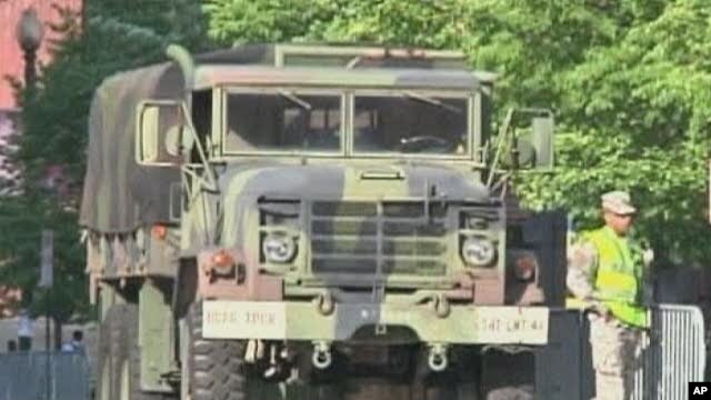 A military truck near the venue hosting delegates to the nuclear summit