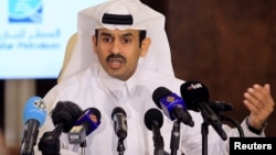 Saad al-Kaabi, chief executive of Qatar Petroleum, gestures as he speaks to reporters in Doha, Qatar, July 4, 2017.