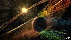 ຮູບພາບຈີນຕະນາການ ຂອງນັກແຕ້ມ ເຜີຍແຜ່ໂດຍອົງການ NASA ເມື່ອວັນທີ 5 ພະຈິກ 2015 ສະແດງໃຫ້ເຫັນ ລົມພາຍຸຈາກພະອາທິດ ຖະຫລົ່ມດາວພະອັງຄານ.