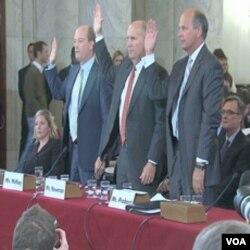 Predstavnici kompanija BP, Transocean i Halliburton u Senatu su svjedočili pod zakletvom i medjusobno prebacivali krivicu za nesreću u Mekisčkom zaljevu
