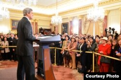 U.S. Secretary of State John Kerry speaks at the searing-in ceremony of Sung Kim, the new ambassador to the Philippines, in Washington, D.C., Nov. 3, 2016. (Photo courtesy of EAP Bureau)