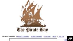 Situs ilegal Pirate Bay (piratebay.org) membantu pengguna mengunduh berbagai macam file secara ilegal (foto: dok).