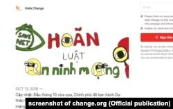 Hơn 69,000 đã ký vào một bức thỉnh nguyện thư yêu cầu quốc hội Việt Nam hoãn thi hành Luật An ninh mạng.