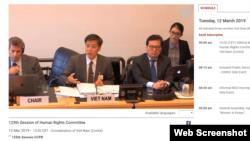 Đoàn chính phủ Việt Nam tại phiên đối thoại Ủy ban Nhân quyền LHQ, Geneva, Thụy Sĩ, hôm 12/3/2019. Photo WebTV.UN