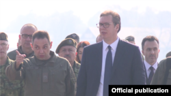 Predsednik Srbije Aleksandar Vučić u obilasku vežbe Slovenski štit 2019 (Foto: official publication)