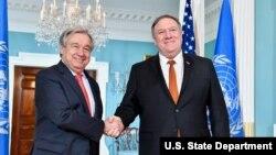 دیدار مایک پمپئو وزیر خارجه آمریکا و آنتونیو گوترش دبیرکل سازمان ملل در واشنگتن - ۲۲ اسفند ۱۳۹۷