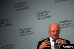 제임스 클래퍼 미 국가정보국장이 지난달 뉴욕에서 열린 미국외교협회(CFR) 주최 세미나에서 발언하고 있다.