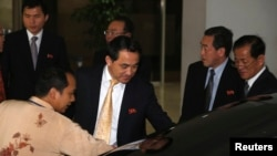 FILE - North Korea's Deputy Foreign Minister Ri Kil Song leaves after a meeting with Indonesian officials at the Foreign Ministry in Jakarta, February 13, 2015.