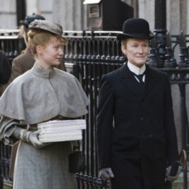 "Glenn Close (right) portrays a woman masquerading as a man in ""Albert Nobbs."""