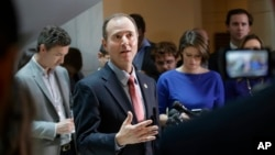 Rep. Adam Schiff, D-Calif., ranking member of the House Intelligence Committee, speaks to reporters on Capitol Hill in Washington, March 30, 2017, about the actions of Committee Chairman Rep. Devin Nunes, R-Calif., as the panel continues to investigate Russian interference in the 2016 U.S. presidential election.