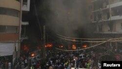 Le site de l'attentat du 15 août à Beyrouth