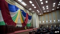 Le parlement centrafricain lors de la réception du secrétaire général de l'ONU Antonio Guterres, le 27 octobre 2017