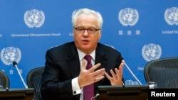 FILE - Vitaly Churkin, Russia's ambassador to the United Nations, says Moscow is also concerned about reports that the Islamic State group has used chemical weapons in Iraq.