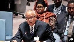 Le Premier ministre somalien Abdusalam Omer lors d'une réunion contre le terrorisme à New York, le 11 mai 2016.