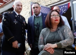 Wounded Iraq veteran Sen. Tammy Duckworth (D-Ill) at a meeting with veterans deported to Mexico during the presidency of U.S. President Donald Trump, as part of Veterans Day, at the Deported Veterans Support House in Tijuana, Mexico, November 11, 2019. RE