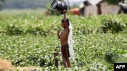 Seorang anak India menyiramkan air untuk mendinginkan tubuh di tengah suhu tinggi di New Delhi, 9 Mei 2019.
