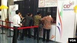 Para peserta mulai mendaftarkan diri untuk mengikuti kongres Diaspora Indonesia di LA Los Angeles Convention Center (6/7).