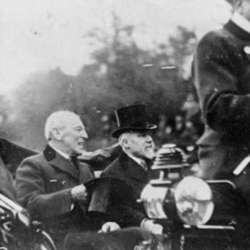 President Woodrow Wilson, left, and French President Raymond Poincare in Paris