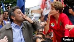 巴西总统候选人迪尔玛·罗塞夫(右)