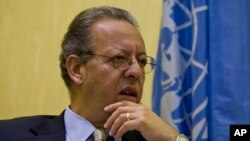 FILE - Jamal Benomar, the U.N. special envoy to Yemen and the country's chief political interlocutor since 2011, speaks to a reporter during an interview with AP in Sanaa, Sept. 28, 2014.