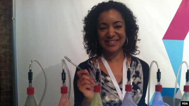 Leyla Farah of Demand Media cooks up interest in her company's specialised websites at Internet Week New York.