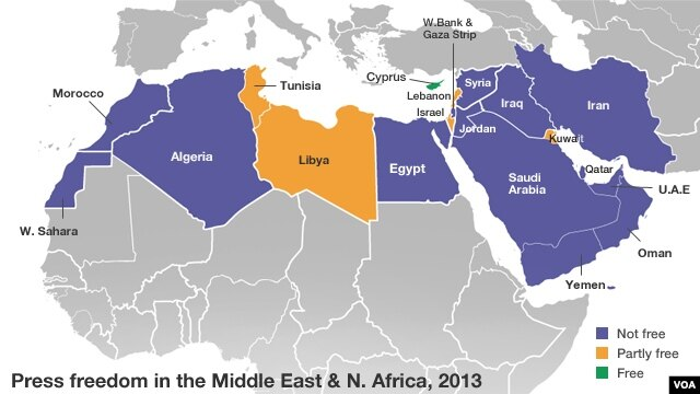 Press freedom in the Middle East and North Africa, 2013.
