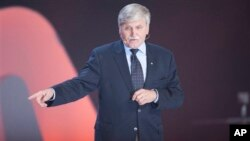 The Honorable Romeo Dallaire speaks during We Day at Air Canada Center on Friday, Sept. 28, 2012, in Toronto. The retired Lt. General supports the Code Blue Campaign. (Photo by Arthur Mola/Invision/AP)