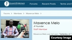 FILE - A Dec. 16, 2016, screenshot of jamiiforums website showing the profile photo of co-founder Maxence Melo Mubyazi; saying he was last seen yesterday at 1:39 PM.