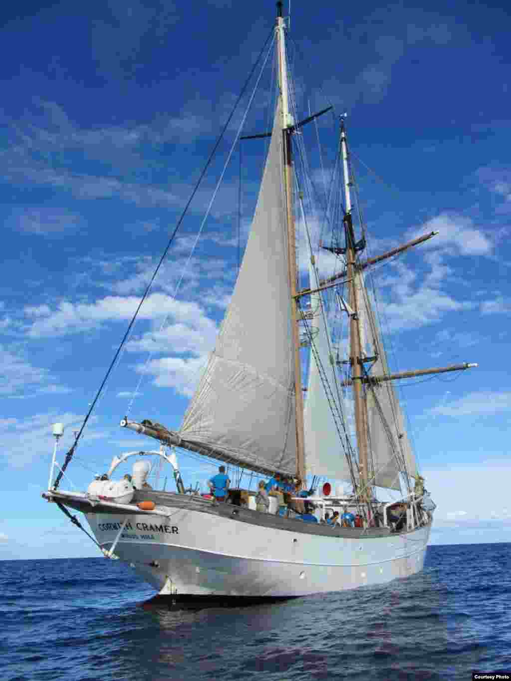 Sea Education Association (SEA) sailing research ship Corwith Cramer under sail. (Credit: E. Zettler, SEA Education Association)