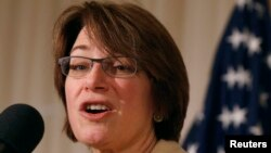 FILE - U.S. Senator Amy Klobuchar, a Democrat from Minnesota, delivers remarks at the public launch of the U.S. Agriculture Coalition for Cuba at the National Press Club in Washington, Jan. 8, 2015.