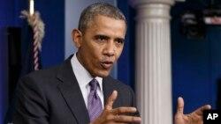 美國總統奧巴馬星期四在白宮對記者講及有關烏克蘭情形。