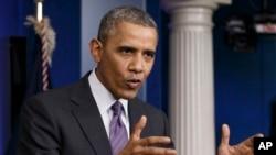 Tổng thống Hoa Kỳ Barack Obama nói với phóng viên báo chí về tình hình ở Ukraine, 17/4/14
