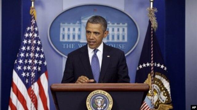 Tổng thống Obama phát biểu tại Tòa Bạch Ốc,28/12/ 2012.