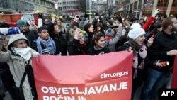 Aktivisti Centra za integraciju mladih učestvuju u skupu solidarnosti organizovanom povodom Medjunarodnog dana ljudskih prava, Beograd, 10. decembar 2010.