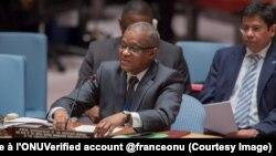 Maman Sidikou, envoyé spécial de l'ONU et chef de la mission ousiennes en RDC devant le Conseil de sécurité, New York, 11 octobre 2017. (Twitter/La France à l'ONUVerified account @franceonu)