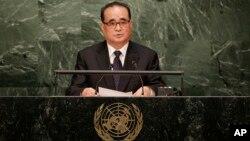 리수용 북한 외무상이 지난 1일 유엔 총회에서 기조연설을 하고 있다.