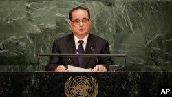 리수용 북한 외무상이 지난해 10월 유엔 총회에서 기조연설을 하고 있다.