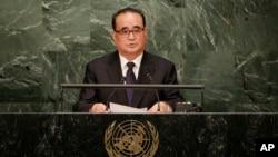 지난해 10월 미국 뉴욕에서 열린 유엔 총회에 참석한 리수용 북한 외무상이 기조연설을 하고 있다. (자료사진)