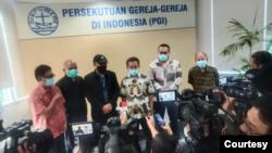 Perwakilan dari 75 pegawai KPK yang dinyatakan tidak lolos tes wawasan kebangsaan saat berkunjung ke kantor PGI di Jakarta, Jumat, 28 Mei 2021. (Foto: PGI)